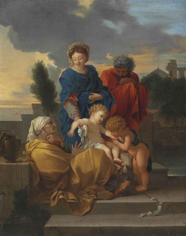 the holy family with saint elizabeth and the infant saint john the baptist by sébastien bourdon