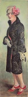 dame mit schwarzem mantel by arthur kaufmann