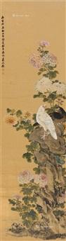 秋菊双鸽 立轴 纸本设色 by jiang tingxi