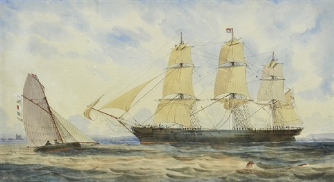 george thompson co immigrant barque in hobsons bay by george frederick gregory