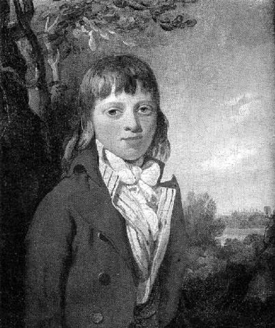 portrait of a young boy wearing a red coat and yellow waistcoat eton college chapel beyond by richard livesay