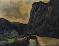 paysage, pont et rochers by elysée fabry