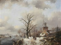 a winter landscape with figures on a snowy path by a windmill and skaters on a frozen waterway near a koek en zopie by frederik marinus kruseman