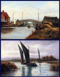potter heigham bridge (+ wherries on the broads, lrgr; 2 works) by percy lionel