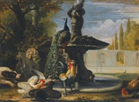 a dog startling cockerels before a fountain with a peacock by david de coninck