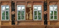 wiener hausfassade von 1906: entwurf für ein plakat der wiener wohnhaus-sanierungsaktion by franz zadrazil