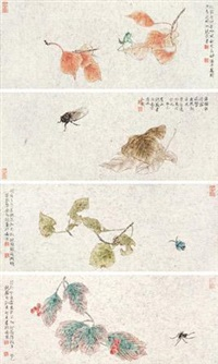 工笔花鸟 (4 works) by rao wei