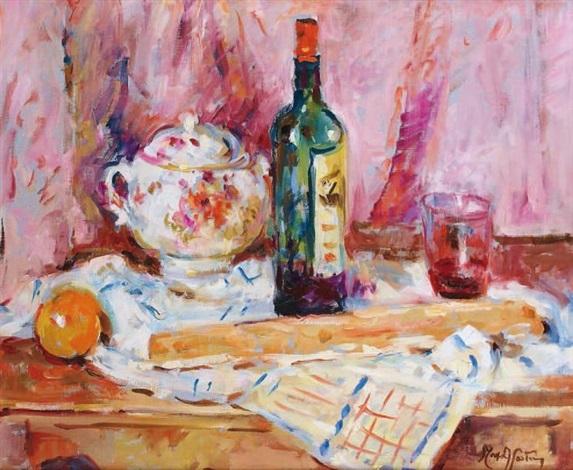nature morte à la bouteille et à la soupière by tony agostini