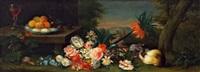blüten, früchte in einer tonschale und ein meerschweinchen in einer landschaft by heinrich christoph pickhardt