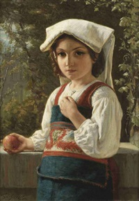 a mediterranean girl holding an apple by fridolin becker