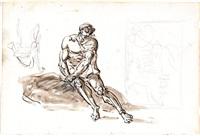 studio di uomo seduto e altri studi by jean baptiste joseph wicar