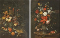 tulips, roses, carnations, lillies on a stone ledge (+ oranges, a watermelon...;pair) by jan mortel