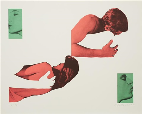 man and woman uncoupled embraces and kissers no more sin from a suite of five lithographs for tristram shandy by john baldessari