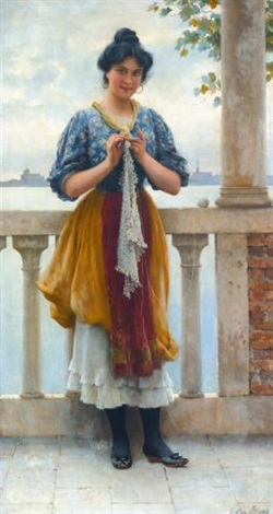young girl before the lagoon venice by eugen von blaas