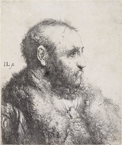 bust of a man wearing a fur coat profile by jan andreas lievens the younger