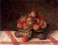 natue morte, persikor och vindruvor by etienne corpet