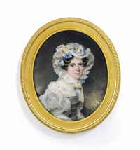 a young lady, in frilled white dress with blue bodice and voluminous white sleeves, frilled white bonnet adorned with yellow and blue striped ribbon tied in bows and fastened under her chin by emanuel thomas peter
