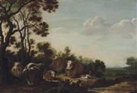 cattle resting in a landscape by gillis claesz de hondecoeter