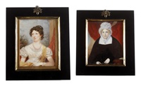 a lady, seated before a garden vista and wearing white dress with lace slip (+ portrait of a lady seated before red drapery, wearing black dress; 2 works) by john edward newton