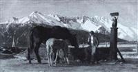 pferd mit fohlen am wassertrog vor einer alpenkulisse by julius jungheim