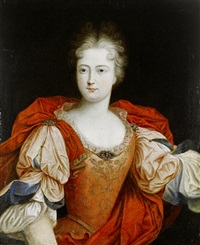 portrait of a lady, said to be louise-francoise de bourbon, mademoiselle de nantes in pink embroidered costume and a red embroidered mantle by pierre gobert