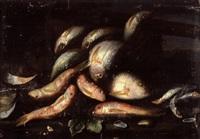 poisson sortant d'un panier, huîtres et moules, sur un entablement by elena recco