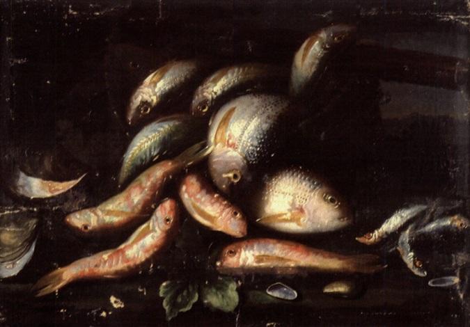 poisson sortant dun panier huîtres et moules sur un entablement by elena recco