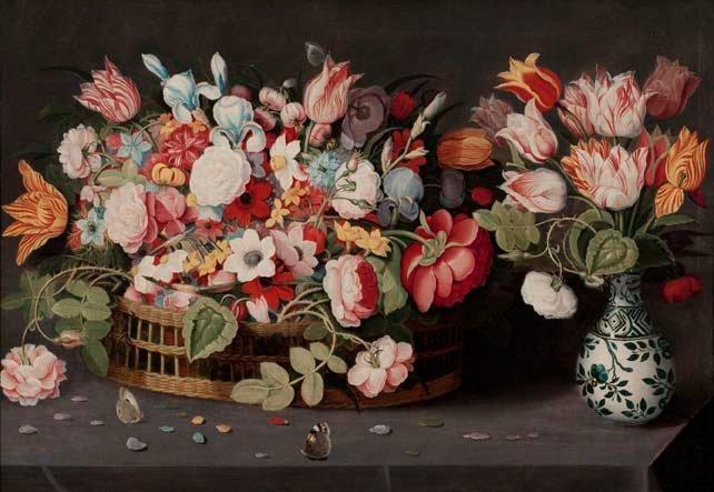 nature morte au bouquet de fleurs dans un vase wan li et corbeille de fleurs sur un entablement by osias beert the elder