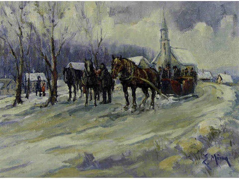 untitled horse drawn sleigh by the church by ernest marza