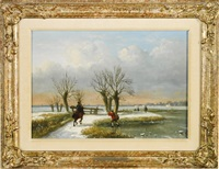 winter landscape by louis pierre verwee