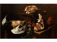 grosses stilleben mit totem federvieh, lebenden hühnern sowie dem gehörnten kopf eines schafes by giacomo legi