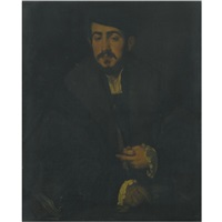 portrait of a gentleman, half length, wearing a black cap, a fur collar and lace cuffs by lambert sustris