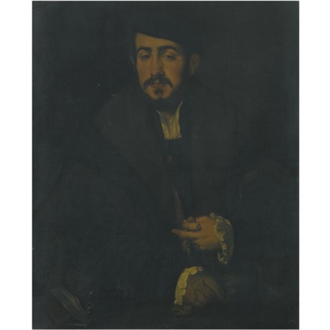 portrait of a gentleman half length wearing a black cap a fur collar and lace cuffs by lambert sustris