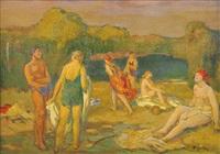 bathing (+ interior (study), verso) by karel spillar