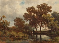 kühe am waldsee by willem roelofs