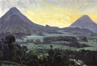 panoramic view on an indonesian landscape with volcanic peaks by ernst (vollbach) vollbehr