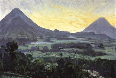 panoramic view on an indonesian landscape with volcanic peaks by ernst vollbach vollbehr