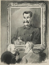 untitled (roosevelt, churchill and stalin) by norman alfred williams lindsay