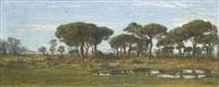 paysage de littoral aux grands pins by felix-hippolyte lanoue