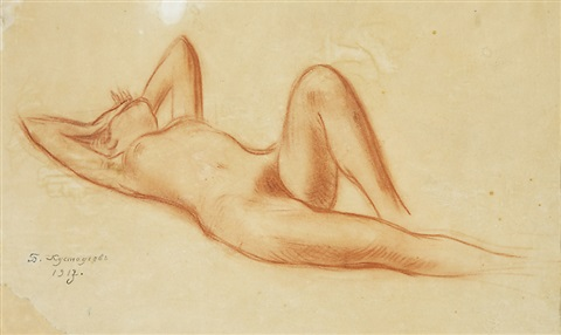 reclining nude by boris mikhailovich kustodiev