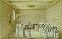 the presentation of an ambassador to the sultan in the throne room at topkapi palace, constantinople by nicolas louis de lespinasse