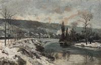 paysage hivernal à la rivière by eugène baudouin