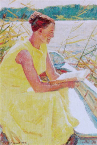 reading by the river by georgi nickolayevich vasilev