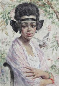 jeune fille noire, ruban dans les cheveux by victor abeloos
