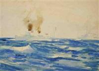 navires en mer (2 works) by bernard raoul lachevre