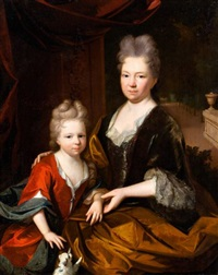 portret van abigaël van hoeckelum (1657-1717) en haar dochter anna martina van bethem (1700-1793) by gerrit alberts