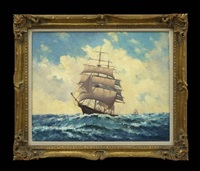 square rigger in stormy weather by hugh boycott-brown
