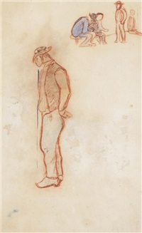 standing figure (study for paysan debout pres d'une barriere) by paul gauguin