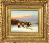 caughnawaga indians in snowy landscape by cornelius david krieghoff
