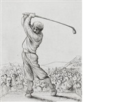 hacker; par 3; five wood and fairway (4 works) by peter howson